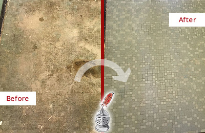 Before and After Picture of Mosaic Floor Cleaned and Sealed to Repair Water Damage
