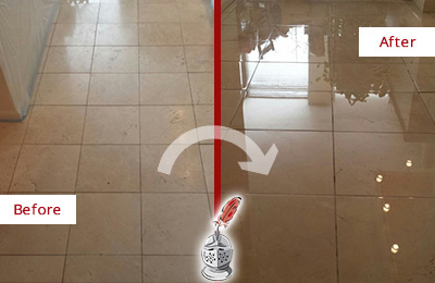 Before and After Picture of a Dull Marble Floor Polished to a Glossy Shine