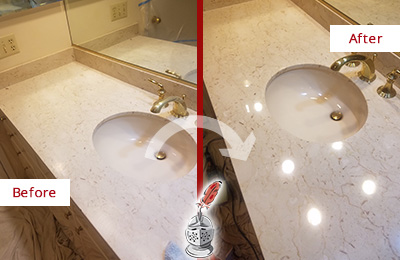 Before and After Picture of a  Bathroom Marble Countertop Sealed for Protection Against Spills
