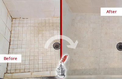 Before and After Picture of a Orchard Shower Caulked to Fix Cracks