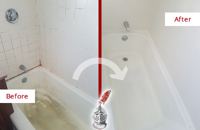 Before and After Picture of a Orchard Bathtub Caulked to Repair Cracks