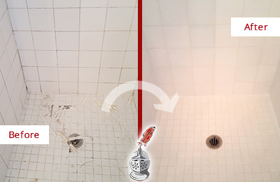 Before and After Picture of a Orchard Bathroom Re-Caulked To Repair Damaged Caulking