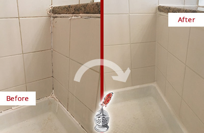 Before and After Picture of a Brookshire Shower Caulked to Repair Damaged Caulking