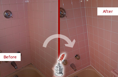 Before and After Picture of a Orchard Bathtub Caulked to Eliminate Mold