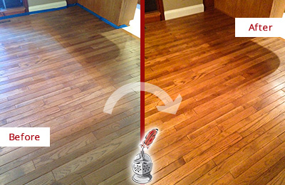 Before and After Picture of a Wallis Wood Sandless Refinishing Service on a Dull Floor to Recover Its Sheen