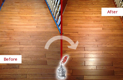 Before and After Picture of a Wallis Wood Sandless Refinishing Service on a Dull Hallway