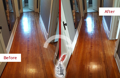 Before and After Picture of a Wallis Wood Sandless Refinishing Service on a Floor to Eliminate Scratches