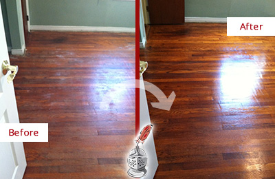 Before and After Picture of a Wallis Wood Sandless Refinishing Service on a Dull Floor to Remove Stains