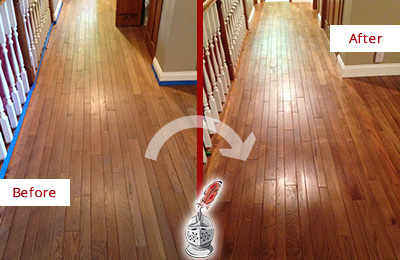 Before and After Picture of a Wallis Wood Sandless Refinishing Service on a Worn Out Floor