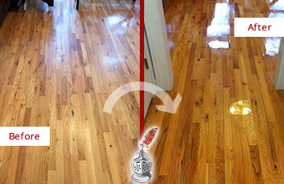 Before and After Picture of a Wallis Wood Sandless Refinishing Service on a Worn Out Hallway