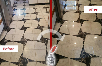 Before and After Picture of a Dull Galveston Marble Stone Floor Polished To Recover Its Luster