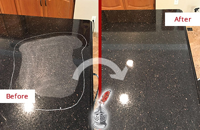 Before and After Picture of a Galveston Granite Stone Countertop Polished to Remove Scratches