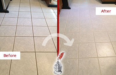 Before and After Picture of a Houston Kitchen Ceramic Floor Sealed to Protect From Dirt and Spills