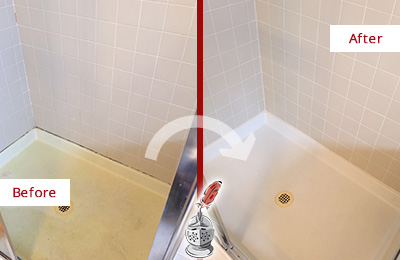 Before and After Picture of a Kemah Shower Sealed to Remove and Protect Against Mold