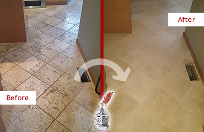 Before and After Picture of a Richards Kitchen Marble Floor Cleaned to Remove Embedded Dirt