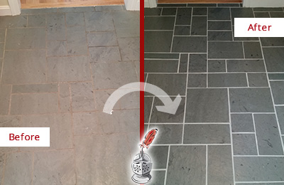 Before and After Picture of a Richards Slate Floor Cleaned to Remove Deep-Seated Dirt
