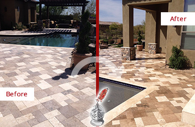 Before and After Picture of a Dull Richards Travertine Pool Deck Cleaned to Recover Its Original Colors