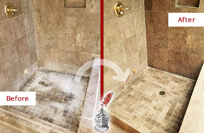 Before and After Picture of a Richards Travertine Shower Cleaned to Eliminate Water Spots