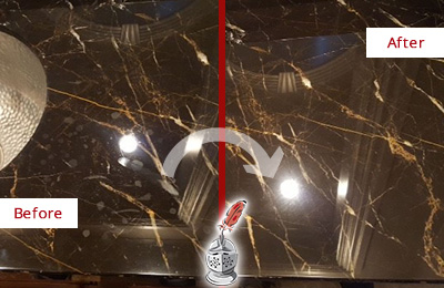 Before and After Picture of a Richards Marble Countertop Cleaned to Remove Water Spots