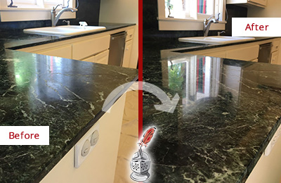 Before and After Picture of a Guy Marble Kitchen Countertop Honed to Remove Water Marks