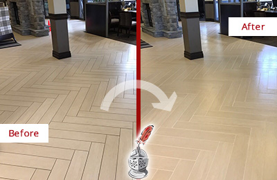 Before and After Picture of a Conroe Hard Surface Restoration Service on an Office Lobby Tile Floor to Remove Embedded Dirt