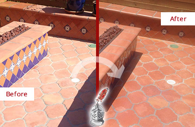 Before and After Picture of a Hitchcock Hard Surface Restoration Service on a Dull Terracotta Patio Floor to Recover Its Color