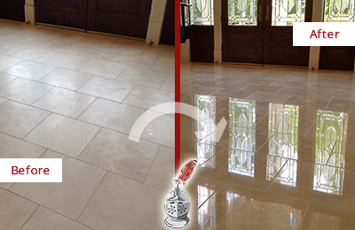 Before and After Picture of a Pearland Hard Surface Restoration Service on a Dull Travertine Floor Polished to Recover Its Splendor