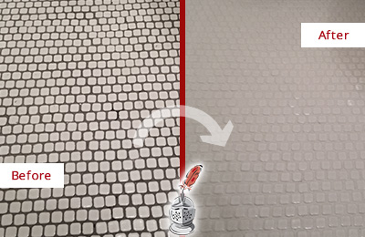 Before and After Picture of a Hitchcock Hard Surface Restoration Service on a Bathroom Tile Floor Recolored to Fix Grout Color