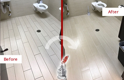 Before and After Picture of a Willis Office Restroom's Grout Cleaned to Remove Dirt