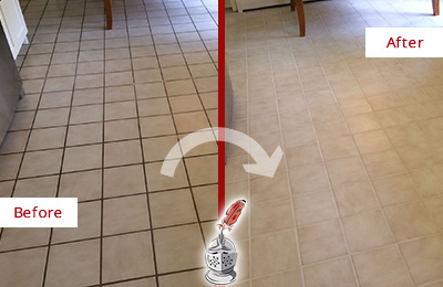 Before and After Picture of a Hitchcock Kitchen Tile Floor with Recolored Grout
