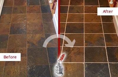 Before and After Picture of a Hitchcock Slate Floor Recolored Grout