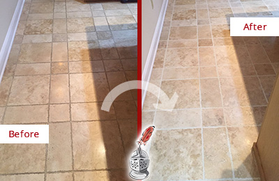 Before and After Picture of a Clear Lake Shores Travertine Kitchen Floor Recolored Grout