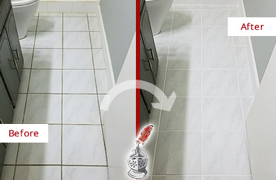 Before and After Picture of a Clear Lake Shores White Ceramic Tile with Recolored Grout