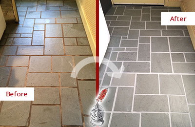 Before and After Picture of Damaged Guy Slate Floor with Sealed Grout