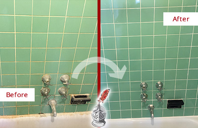 Before and After Picture of a Montgomery Bath Tub Grout Sealed to Avoid Water Damage