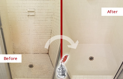 Before and After Picture of a Guy Bathroom Grout Sealed to Remove Mold