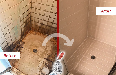 Before and After Picture of a Cleveland Ceramic Shower Cleaned to Remove Grime