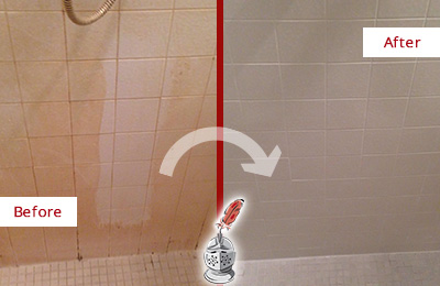 Before and After Picture of a Orchard Porcelaine Shower Cleaned to Remove Soap Scum