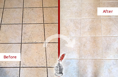 Before and After Picture of a Pasadena Ceramic Floor Cleaned to Remove Soil